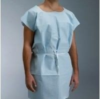 "EXAM GOWN 30""X42"" 3PLY TISSUE-POLY-TISSUE CONSTRUCTION BLUE"
